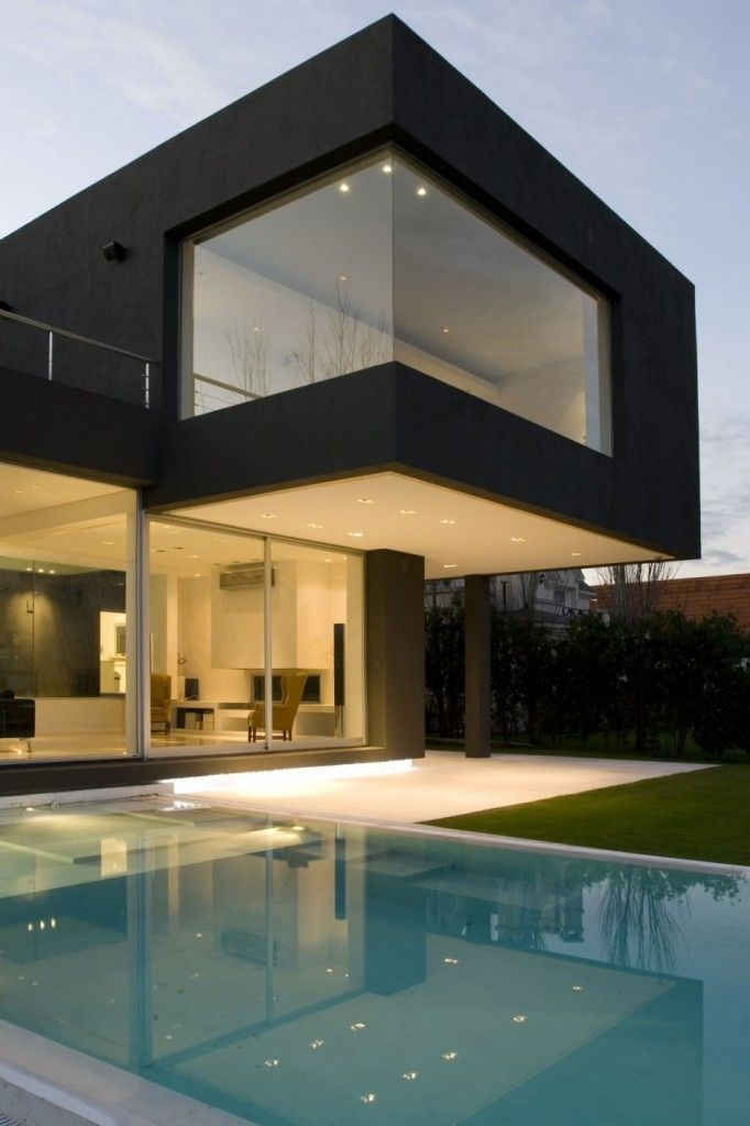 Love the open floor plan, use of light and dark and incorporating water and lighting into design.