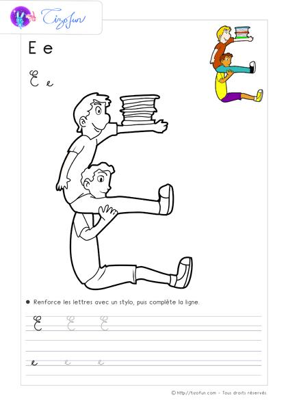 Coloriage Alphabet Cursive.Coloriage Alphabet Enfants Dessin Lettre E 2 Coloriage