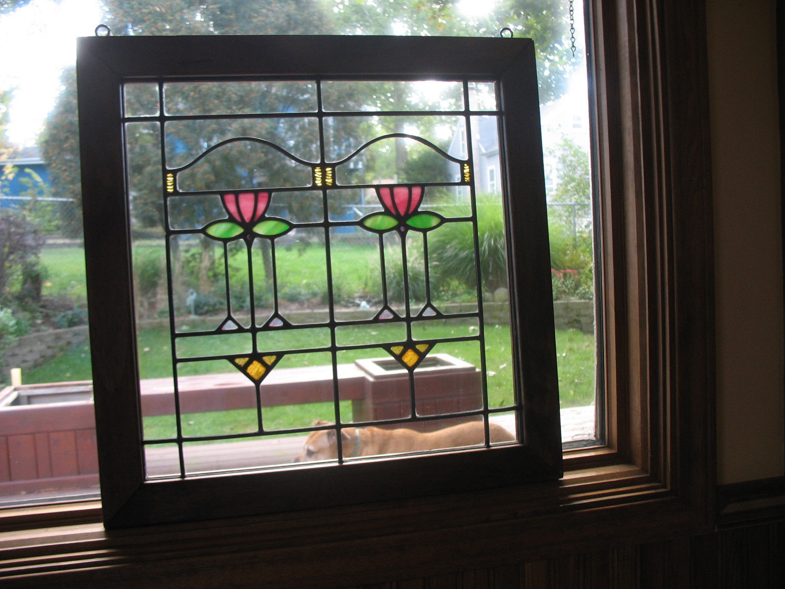 Vintage Craftsman Bungalow Style Stained Glass Window Stained Glass Windows Stained Glass Stained Glass Decor