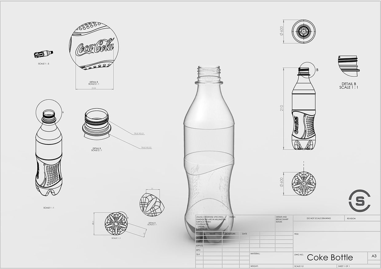 Presentation drawing product render with supporting