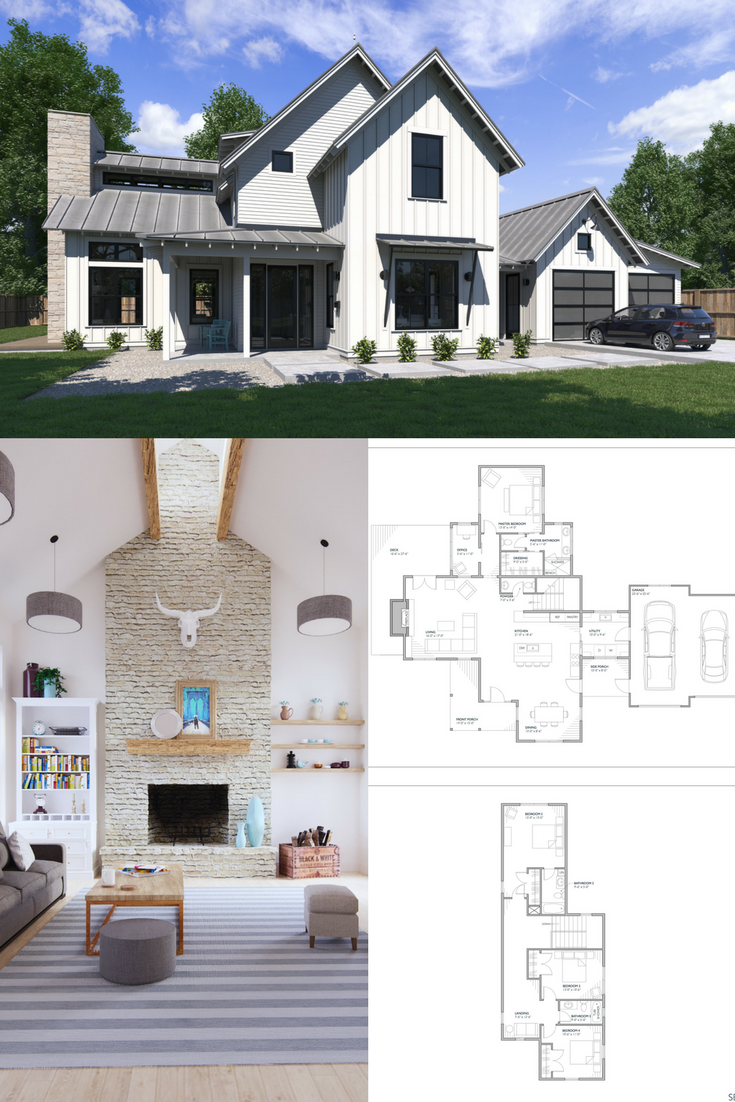 Our Popular Normande Modern Farmhouse Plan With Two Stories Vaulted Ceilings And 4 B Modern Farmhouse Floorplan Modern Farmhouse Plans Modern Farmhouse Floors