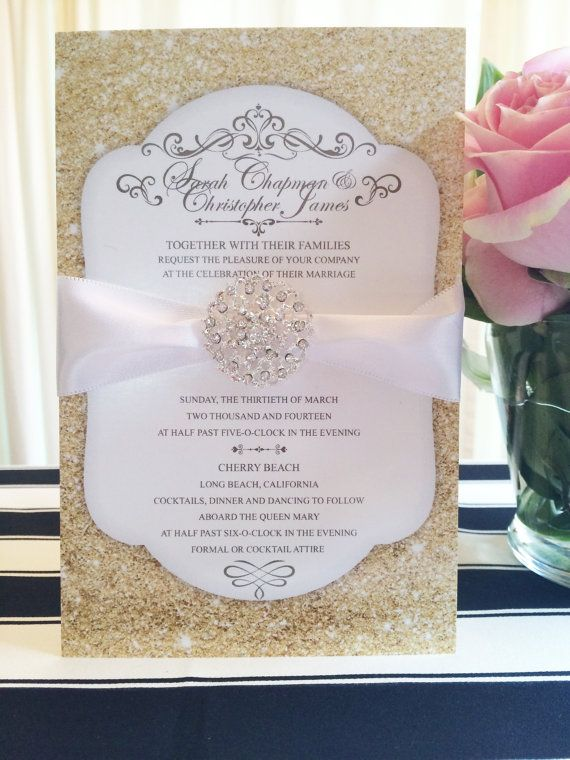 Gold Glitter Wedding Invitations With Jewel
