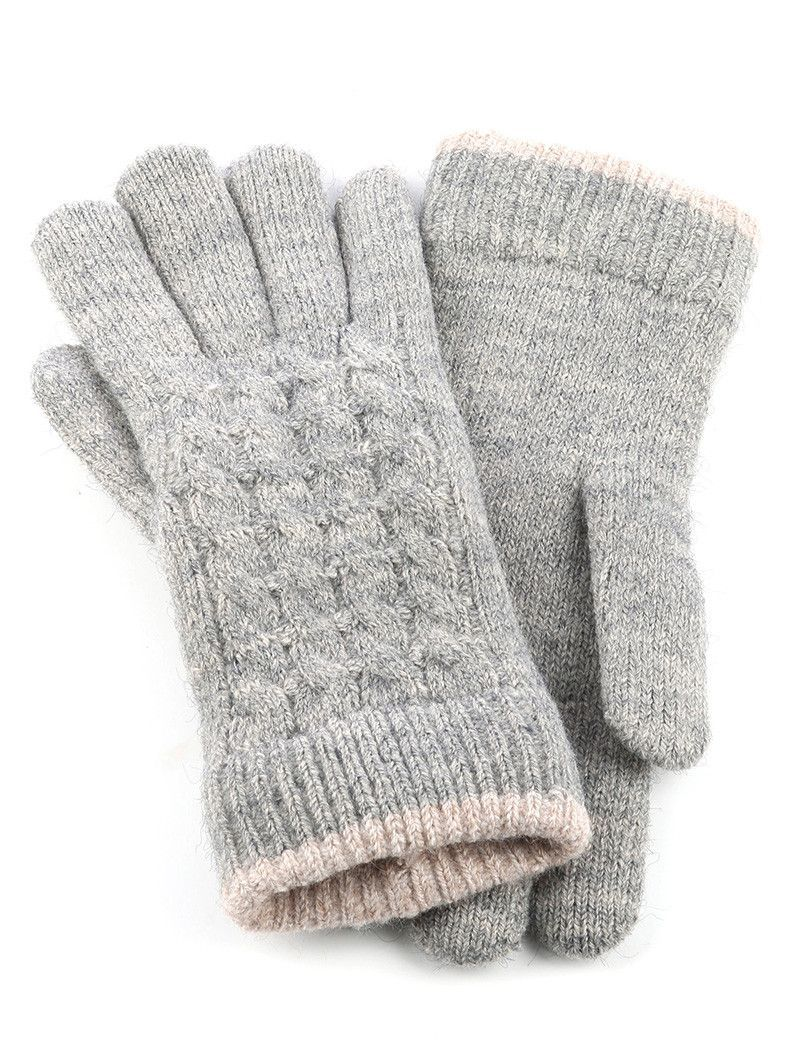 General Merchandise Double Layered Trim Knit Gloves One Pair 100% Acrylic One Size