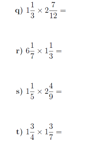 Multiplying Mixed Numbers A Worksheet On Multiplying Mixed Numbers