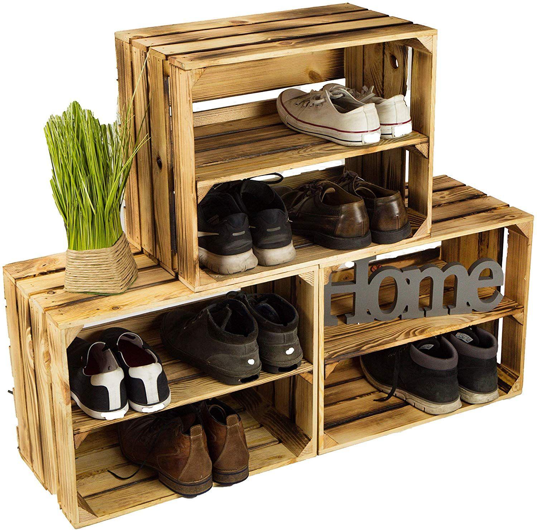Lot De 3 Caisses A Chaussures En Bois Flamme Avec 3 Etageres Pour 12 Paires De Chaussures Dimensions 50 X Idees Etageres Etagere Chaussures Bout De Canape
