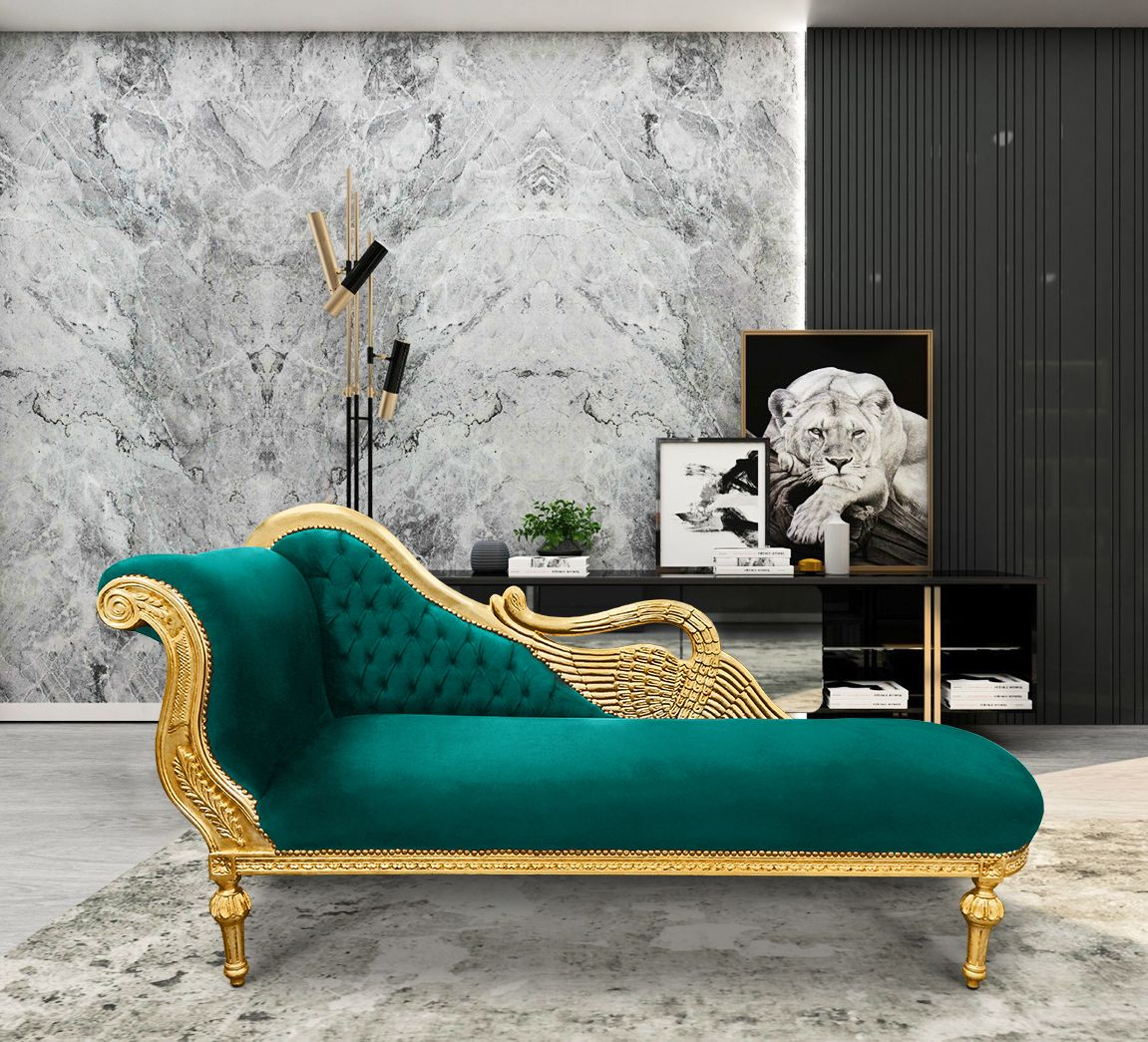 Grand Chaise Longue With Swan Fabric Green Velvet And Gold Wood Green Velvet Fabric Chaise Baroque Furniture