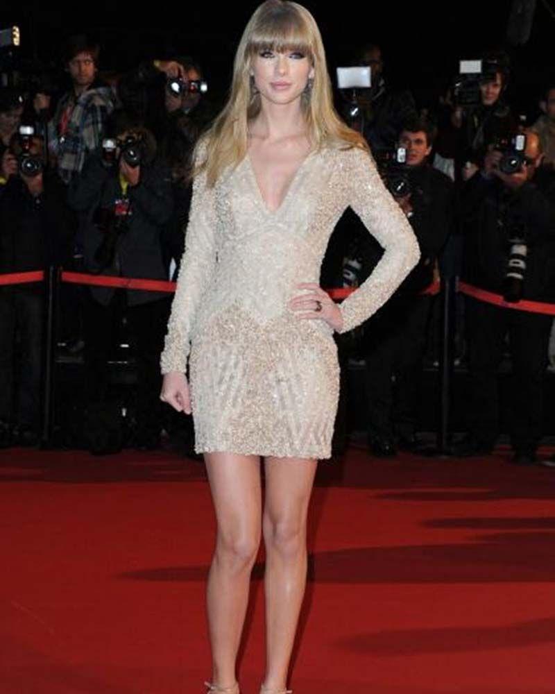 Hot sale v neck long sleeve celebrity dresses above mini length
