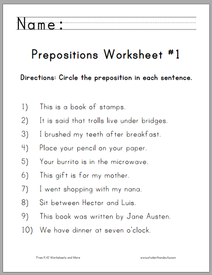 circle the prepositions worksheets free to print pdf files for grade one ela english. Black Bedroom Furniture Sets. Home Design Ideas