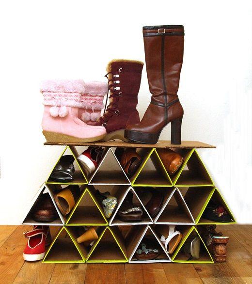 Como Hacer Una Zapatera De Carton Paso A Paso 1 Diy Shoe Storage Diy Shoe Rack Space Saving Shoe Rack
