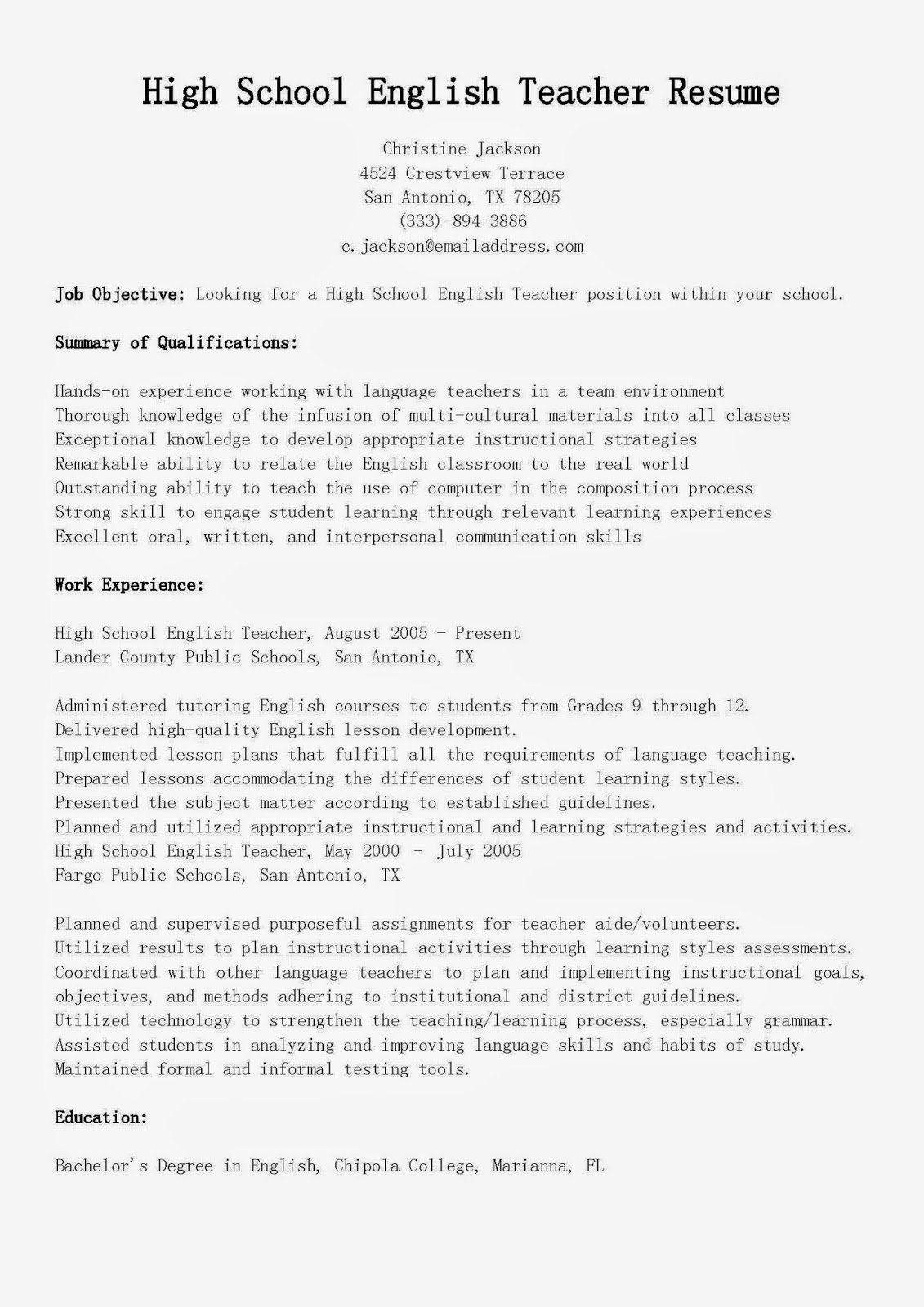 25 high school teacher resume in 2020 middle objective for accounting fresh graduate cashier statements samples professional summary accountant