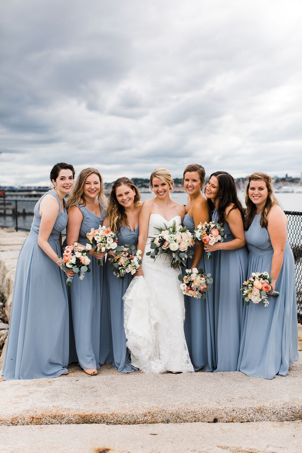 Dusty Blue Bridesmaid Gowns Blue Bridesmaid Gowns Bridesmaid Gown Pretty Flowers