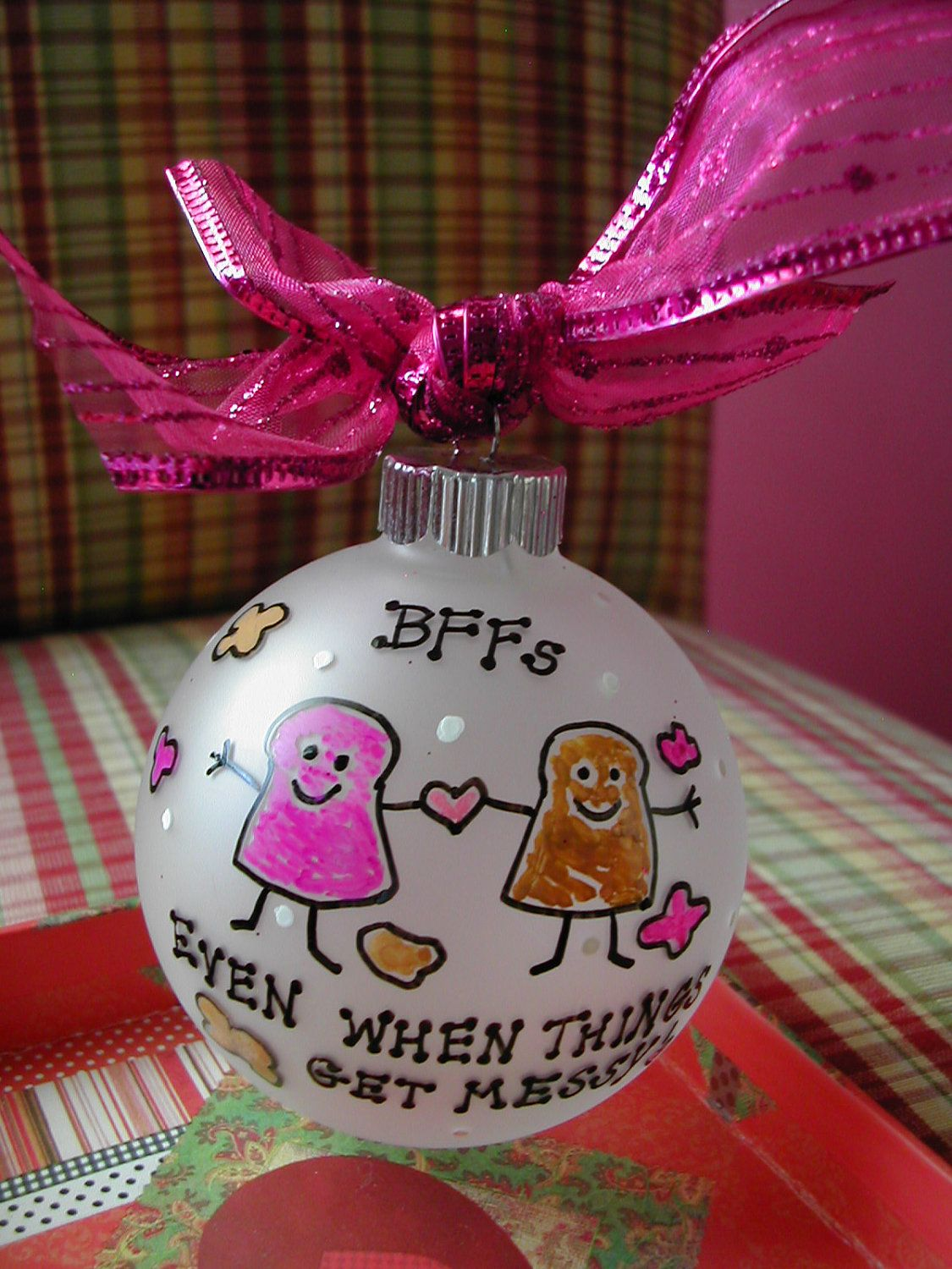 best friends handpainted glass ornament made to order - Best Friend Christmas Ornaments