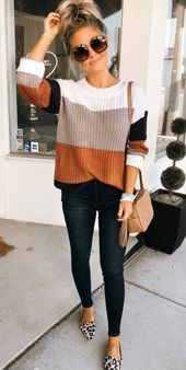 perfect fall outfit striped sweater leopard flats and a chic crossbody bag