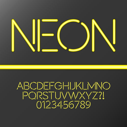 Yellow Neon Alphabet With Number Vector