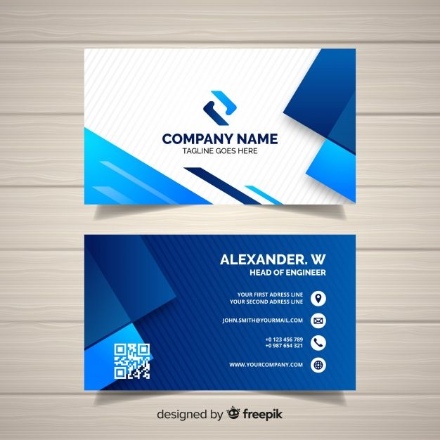 Business Card Template With Geometric Shapes Vector Business Card Free Business Card Templates Blue Business Card Design