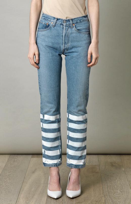 7c4a87cb98e LE FASHION BLOG DIY INSPIRATION DO IT YOURSELF FUN CUSTOMIZED JEANS DENIM  Lulu & Co Vintage Levis 501 mid rise straight leg jeans SCREEN PRINTED  STRIPES ...