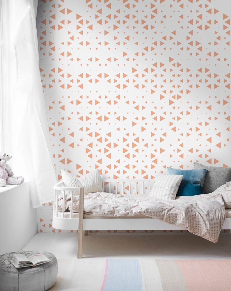 Geometric Triangle Wallpaper Pink Triangle Wallpaper Etsy Geometric Triangle Wallpaper Removable Wallpaper Geometric Triangle