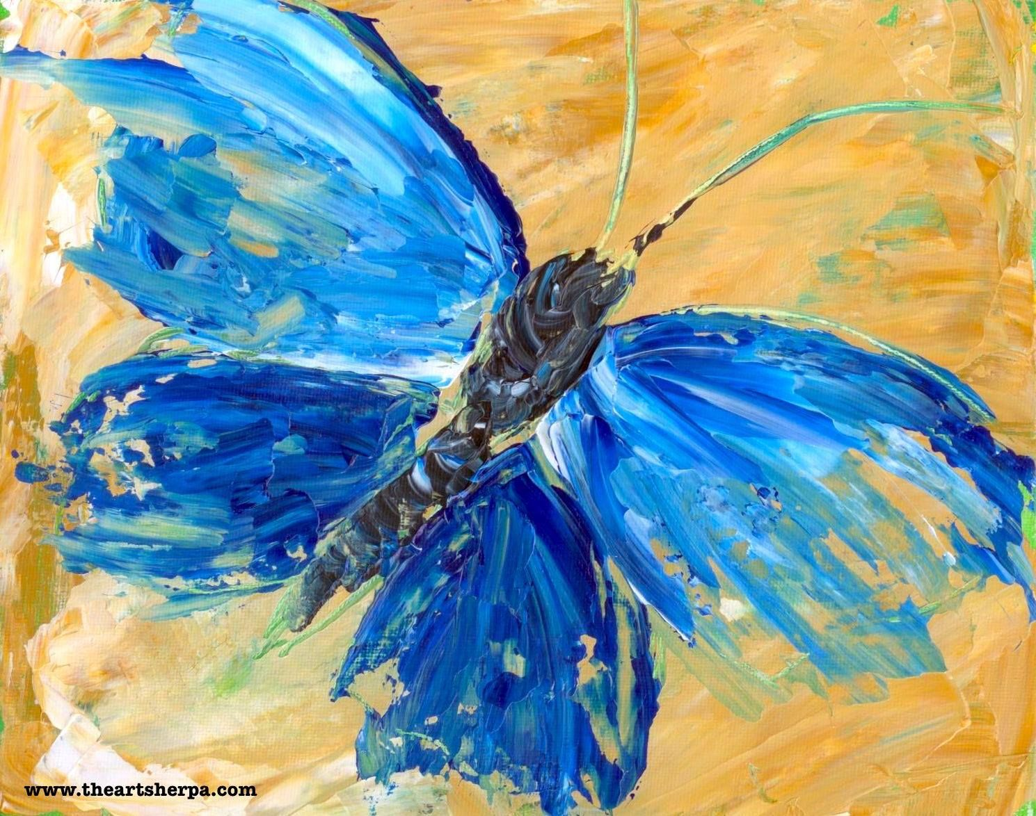 Beginner Acrylic Tutorial Abstract Butterfly Painting ...