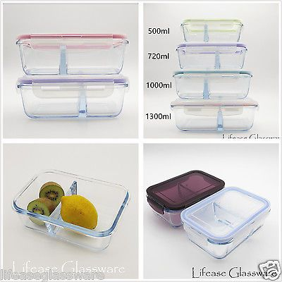 Airtight Pyrex Glass Food Storage Container W Divider