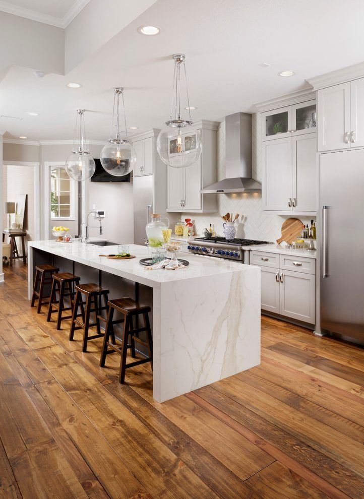 Waterfall Island Kitchen Transitional With White Countertop White Countertop