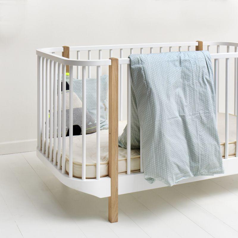 Babybett & Kinderbett \'Wood\' Eiche/weiß 70x140cm | Kinderzimmer ...