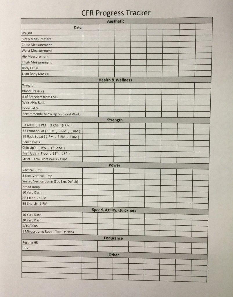 cfr progress tracker sheet personal training resources pinterest