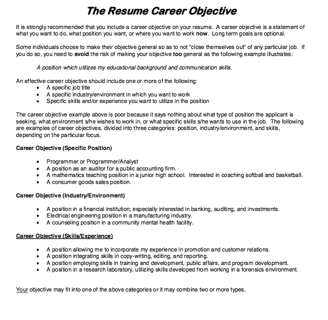 Job Objective Examples For Resumes Resume Career Objective  Httpresumesdesignresumecareer .