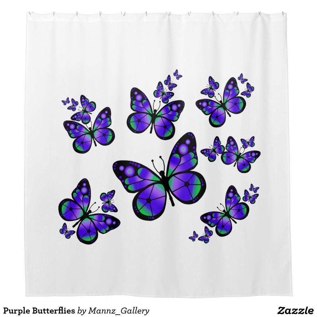 Purple Butterflies Shower Curtain Zazzle Com Butterfly Shower