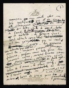 Manuscrit de L'homme à tête de choux de Serge Gainsbourg