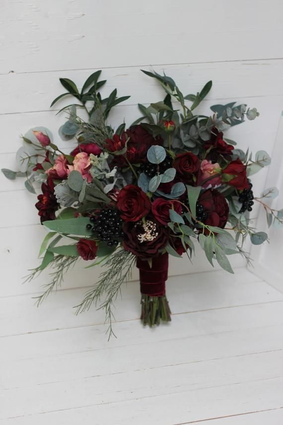 Burgundy flowers Bridal bouquet Faux bouquet Fall wedding Peony eucalyptus Wedding flowers Silk flow