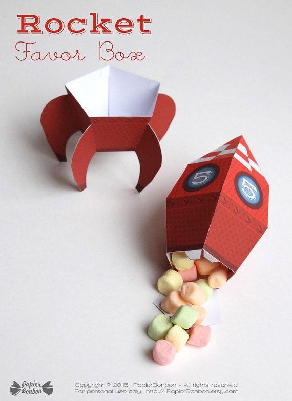 Personnalized Rocket favor box printable, space rocket, rocket paper toy, rocket…