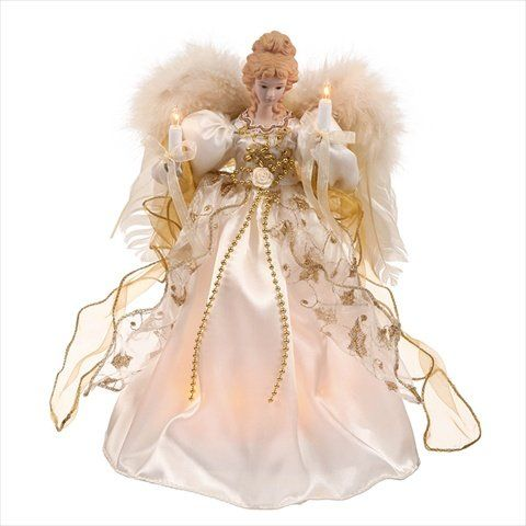 Lighted Cream And Gold Angel Christmas Tree Topper - Clear Lights > Click  image to get this special deal : Christmas Tree Toppers - NorthLight 12 In. Lighted Cream And Gold Angel Christmas Tree Topper
