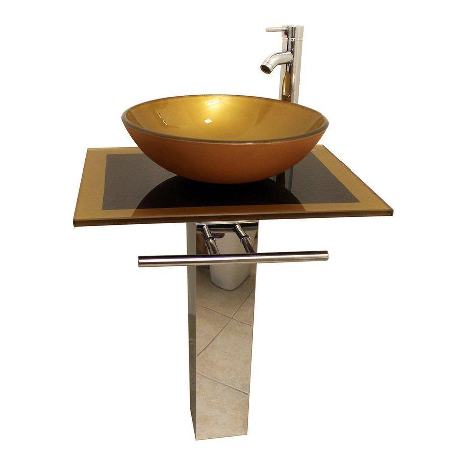 Shop Kokols Usa Mustard Gold Vessel Single Sink Bathroom Vanity With Tempered Glass And Top Sinks Countertops Modern