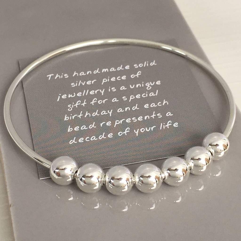 70th birthday handmade silver bangle birthday gifts for