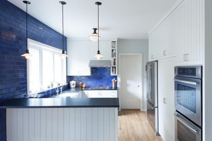 bold Ideas from Kohler- colored tiles make this kitchen look fabulous!