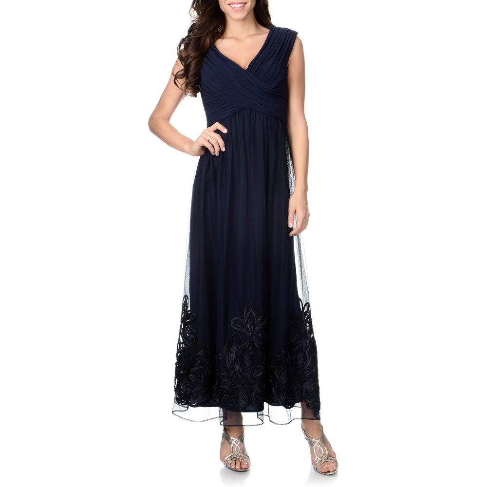 Patra Women\'s Navy Soutache Hem Gown | Overstock.com Shopping - Top ...