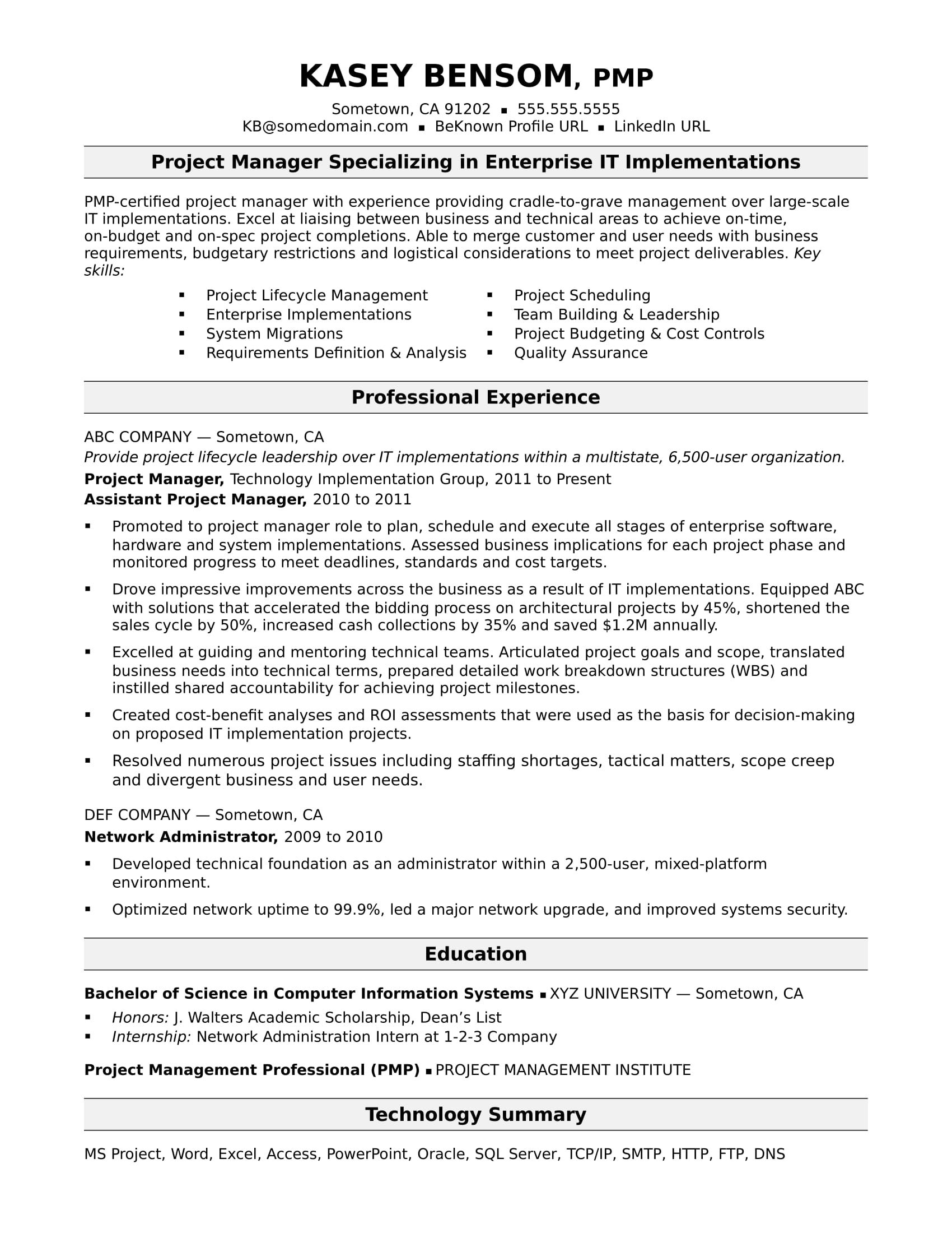 Experienced It Project Manager Resume Sample Project Manager