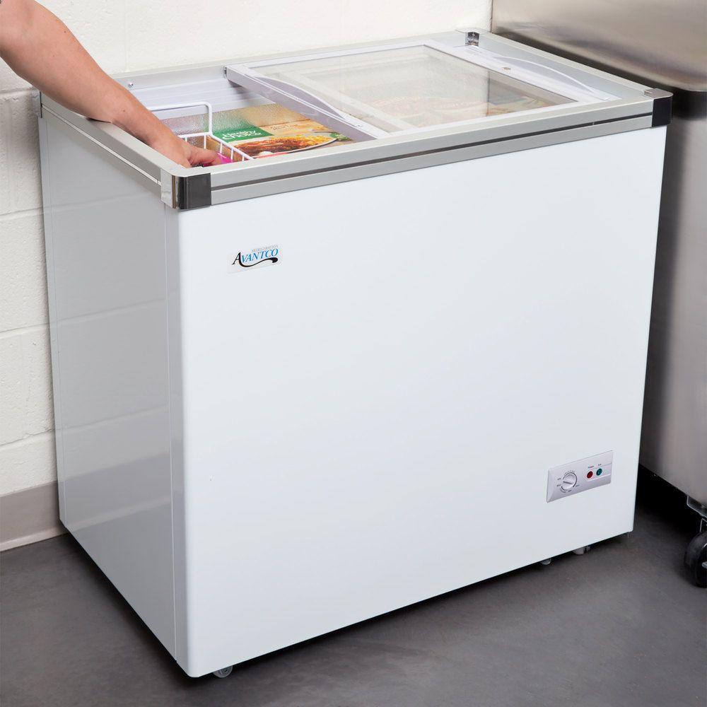 Ge Freezer Fcm7suww Avantco Icff7 Hc 33 7 8 Flat Top Display Freezer Restaurant