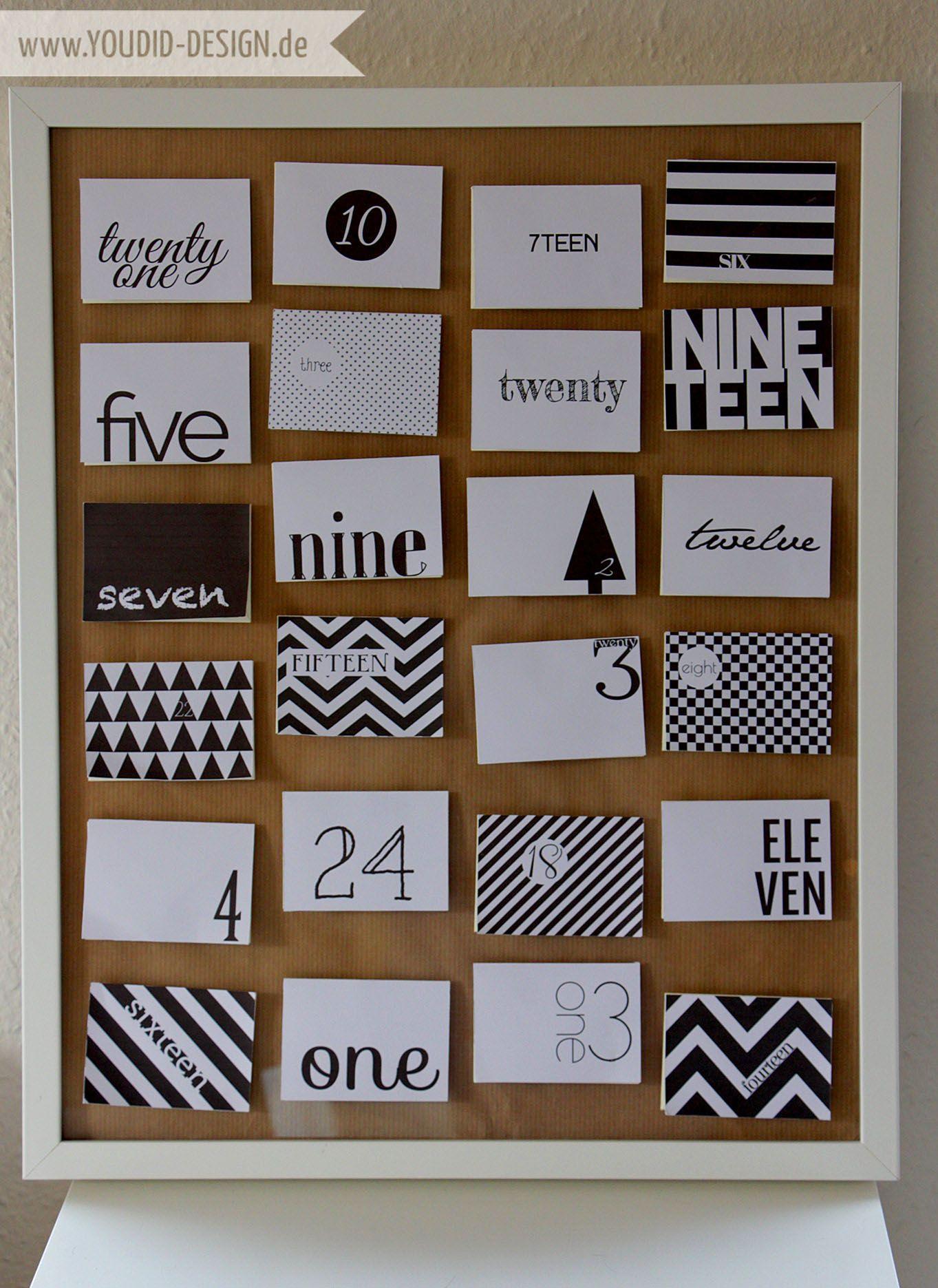 adventskalender freebie black and white diy adventskalender basteln und weihnachten. Black Bedroom Furniture Sets. Home Design Ideas