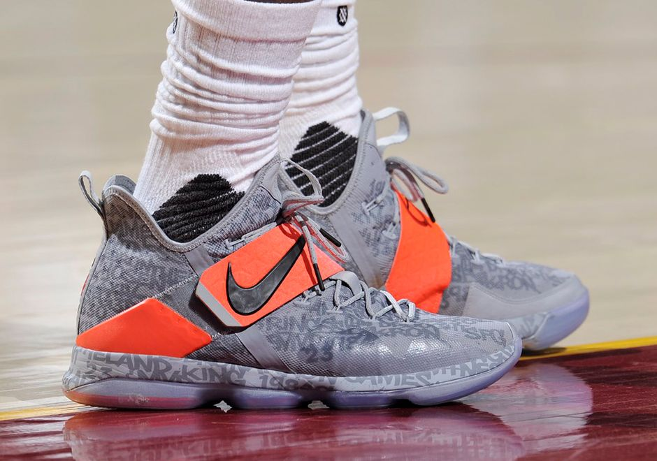 Nike LeBron 14 Grey Orange Game 2 PE | SneakerNews.com
