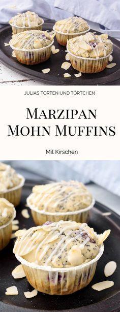 Marzipan Mohn Muffins mit Kirschen