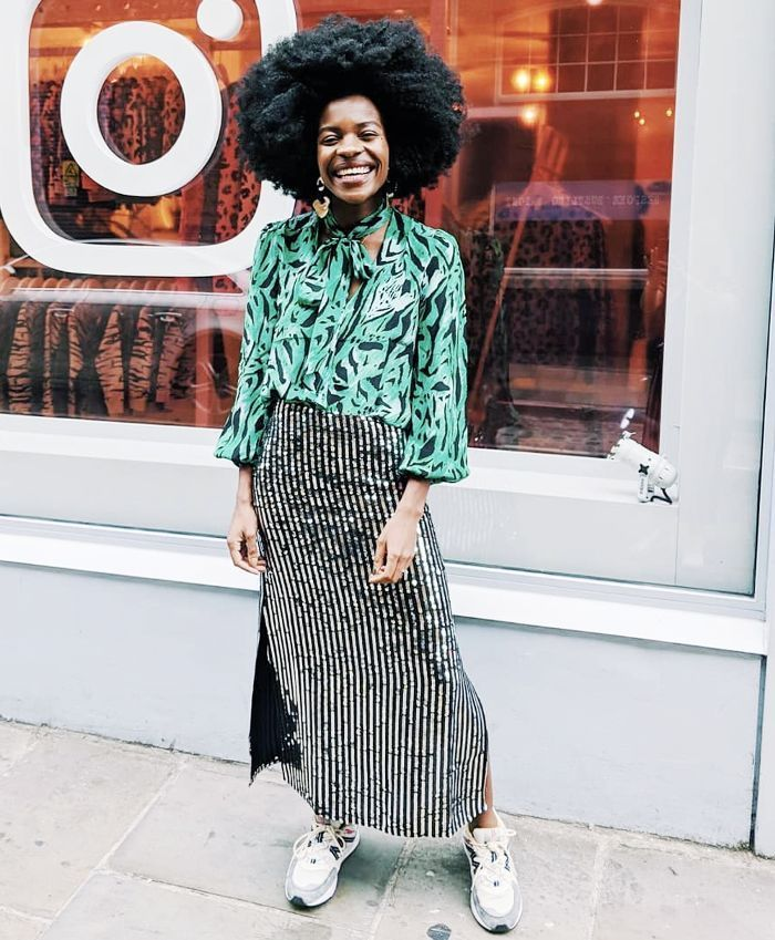 Christmas party outfits: Freddie Harrel wears Rixo top and sequin skirt #fashion #casualchristmaspartyoutfit