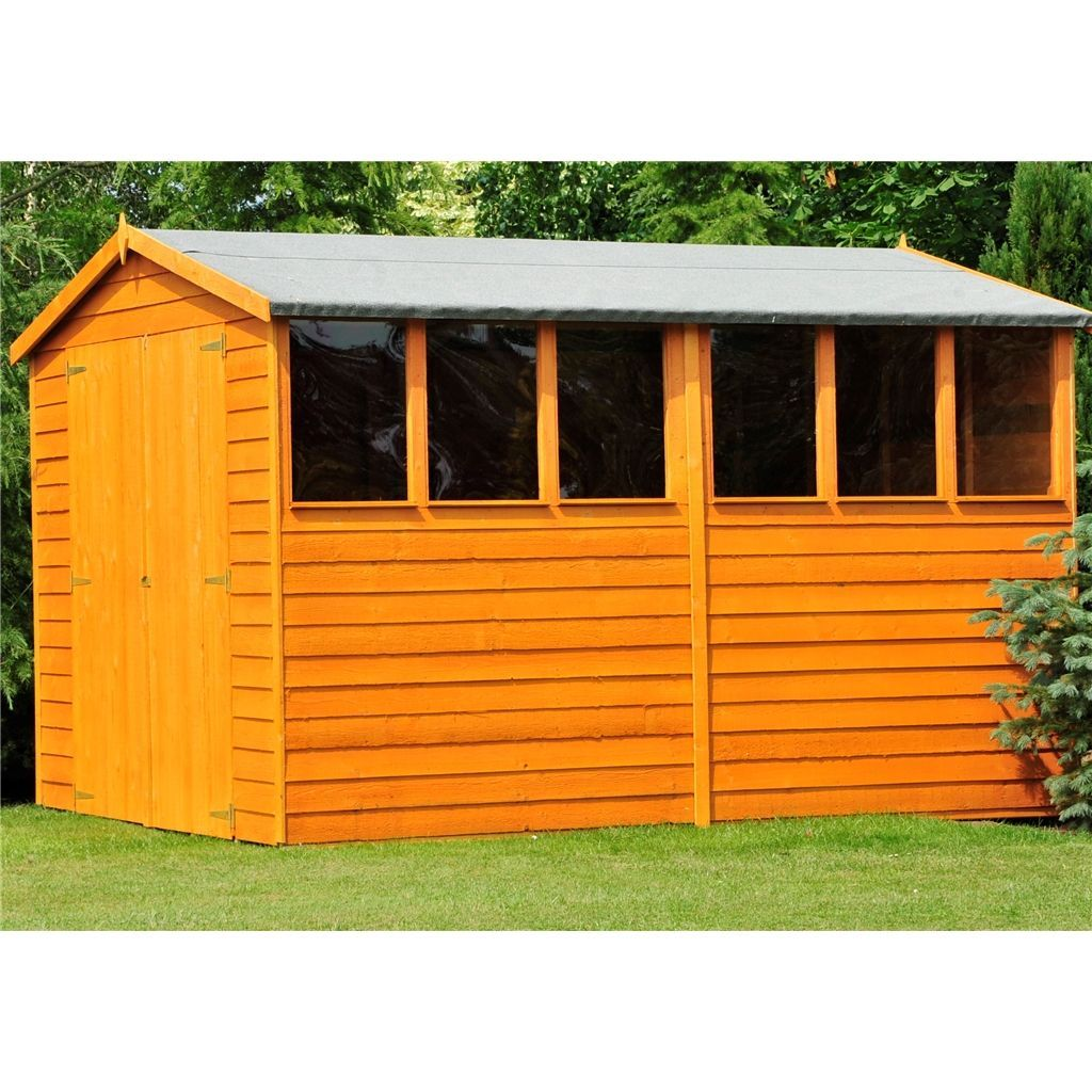 Flash Reduction 10 X 6 2 99m X 1 79m Overlap Dip Treated Apex Garden Shed 6 Windows Double Doors 10mm Solid Osb In 2020 Shed Garden Shed Wooden Sheds