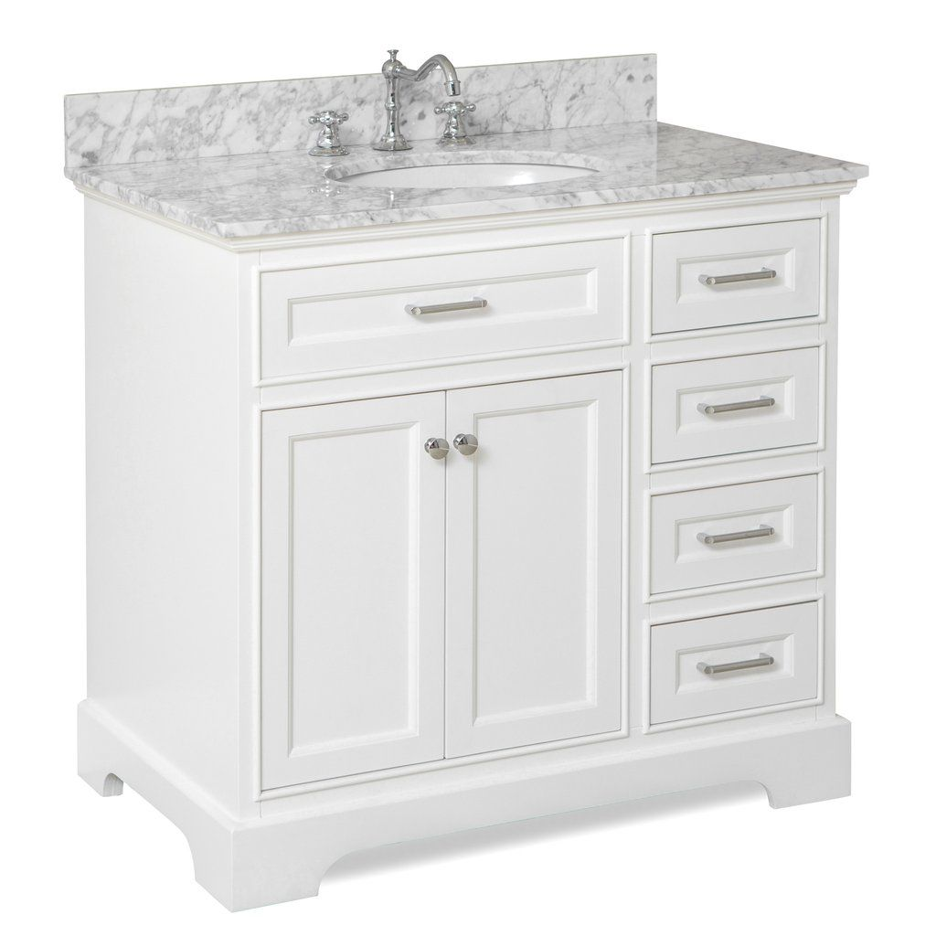 Aria 36 Inch Vanity Carrara Marble White Vanity Bathroom 36 Inch Bathroom Vanity Bathroom Vanity