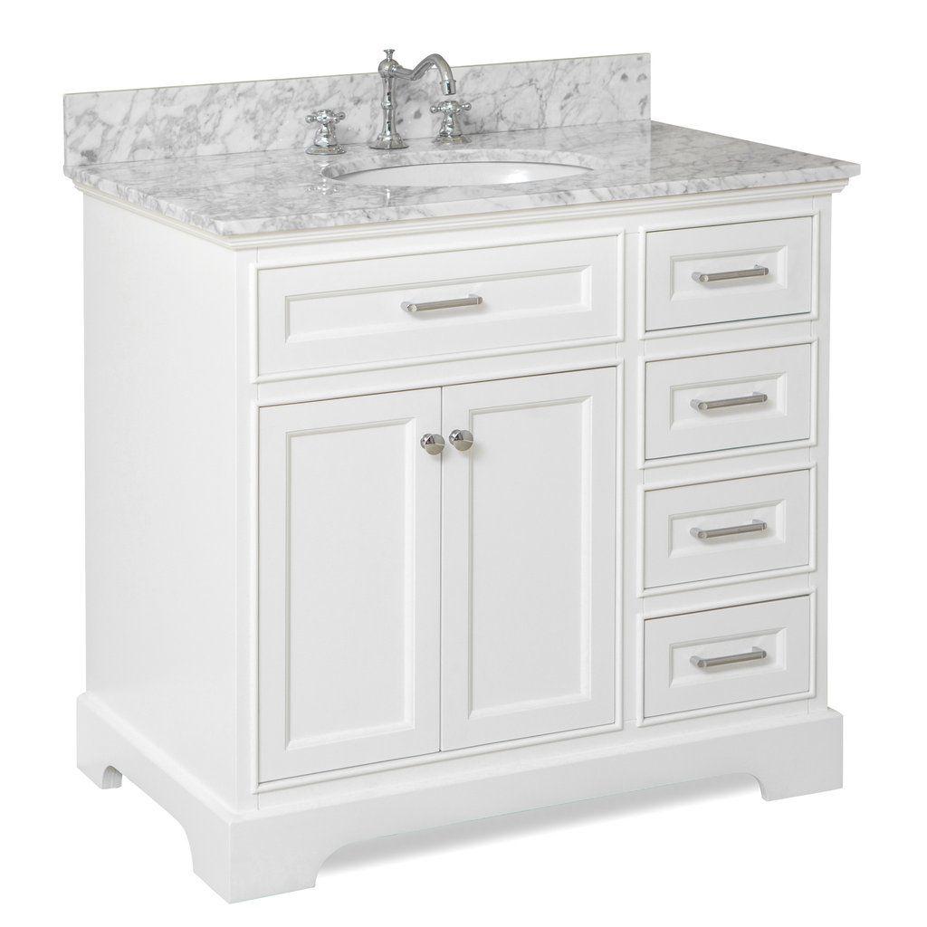 Aria 36 Inch Vanity With Carrara Marble Top White Vanity Bathroom 36 Inch Bathroom Vanity Single Bathroom Vanity