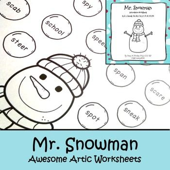 Mr Snowman Awesome Articulation Worksheets 720 Words Kids Speech Therapy Articulation Worksheets Language Activities