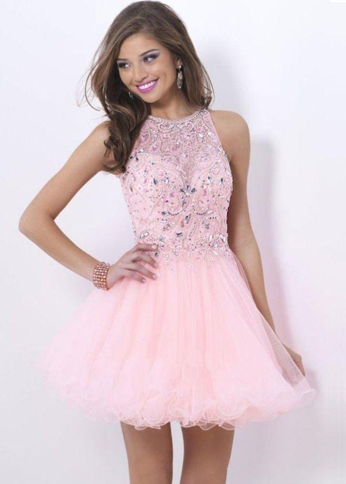 b99c1b5589 vestidos-cortos-de-fiesta-color-rosa-elegante-piedras-preciosas