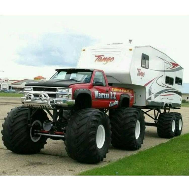 Awesome Truck And Camper Setup Monster Trucks Trucks Big Trucks