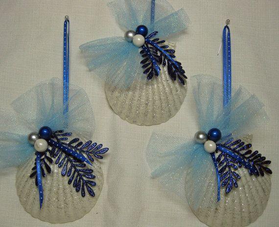 Seashell ornaments nautical christmas decorations set of 3 for Nautical craft ideas