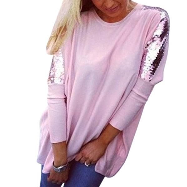 68583720fb76f Pullovers Basic Autumn Women T-Shirts O-Neck Batwing Sleeve Tees Jumper Casual  Sequined
